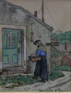 """Angela O'Leary Watercolor on Paper """"Woman with a Basket Entering the Lobster Market"""""""