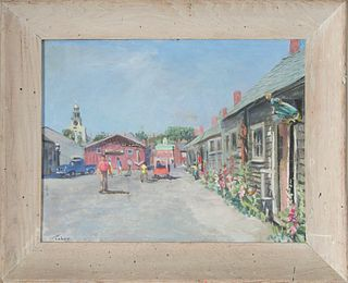 """Gerald Taber Oil on Masonite """"Old South Wharf"""""""