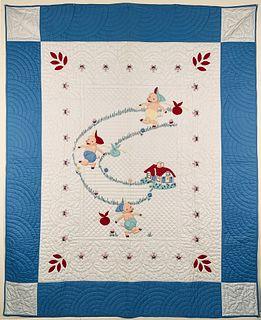 "Fine and Rare Full Size Applique Quilt ""Three Little Piggies"", circa 1930s"
