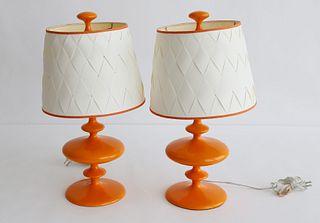 Pair of Robert Abbey LTD Contemporary Orange Glazed Composition Lamps