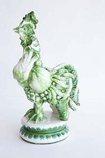 Italian Sculptured Green Ceramic Vegetable Rooster