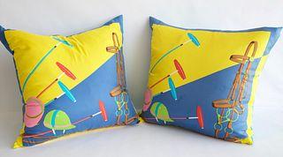 """Two Ralph Lauren Silk """"Polo"""" Pillows"""