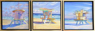 "Three Illya Kagan Oils on Canvas ""Triptych Lifeguard Station Huts"""