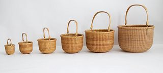 Nest of Six Jean Reis Round Open Swing Handle Nantucket Baskets