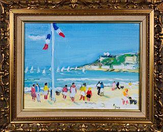 """Michel Legros Oil on Canvas """"Le Plage A Deauville"""""""
