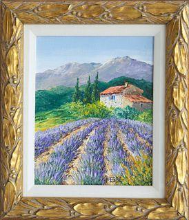 """Sandrine Hesbe Oil on Canvas """"Les Lavandes"""""""