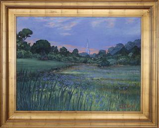 """Illya Kagan Oil on Canvas """"View of the Congregational Church, Nantucket from Lily Pond"""""""