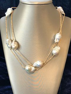 16mm - 25mm White Baroque Pearl Necklace