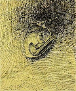 "Odilon Redon, French (1840-1916) Ink on Paper ""Sleeping Bat"""