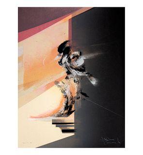 Gustavo Arias Murueta. Sin título Firmada. Serigrafía. P.T. I. Con sello de agua de Ediciones Multiarte, 43 x 33 cm.