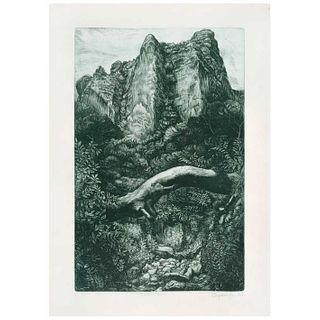 FRANCISCO MORENO CAPDEVILA, Camino al Tepozteco, Firmado y fechado 1957, Grabado P. A. I / XV, 58.3 x 41.3 cm