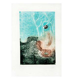 """María Teresa Toral. """"El jardín guarda el secreto"""". Firmado. Grabado 10/40. Con leyenda en parte posterior. 27 x 18.5 cm"""