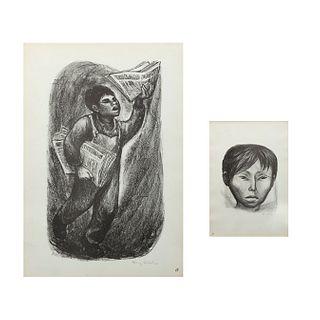 Fanny Rabel. Rostro de niño y Niño vendiendo periódico. Firmadas a lápiz. Litografía sin número de tiraje. Enmarcadas. 37 x 32 cm.