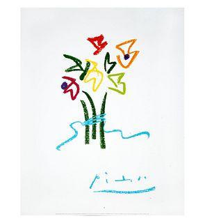 Pablo Picasso. Fleurs du soir. Impresión litográfica en papel velin.  Con certificado de autenticidad de ART. ORG. ES. 50 x 40 cm