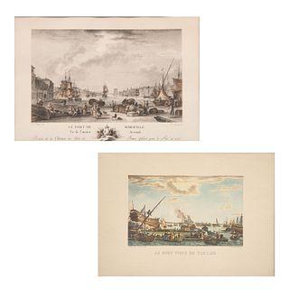 Lote de obra gráfica. Vistas de puertos. Francia, siglo XIX. Litografías coloreadas. Enmarcadas. 14 x 23 cm. Piezas: 2.