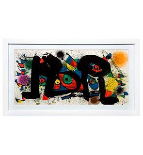 JOAN MIRÓ. Sin título. Firmada en plancha. Litografía sin número de tiraje. Enmarcada. Detalles de conservación. 26.5 x 55 cm