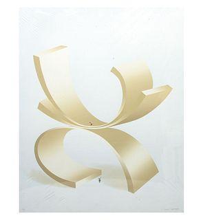 Kurt Larisch. Sin título. Firmada a lápiz. Serigrafía P/I. Con sello de agua de Ediciones Multiarte, Taller Enrique Cattaneo. 72 x 58cm
