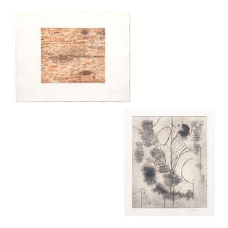 Lote de 2 obras gráficas. Consta de: a) Ortega. Composición abstracta. Firmado y fechado '03. Grabado, XVI/XXX. Otro.