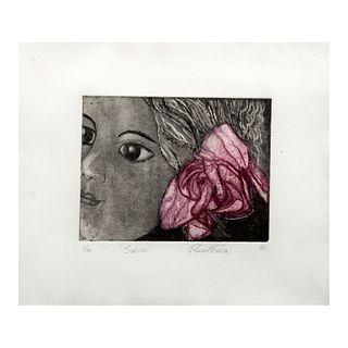 """Reneé Farca. """"Sabina"""". Firmado a lápiz y fechado '95. Grabado 5/50. Enmarcado. 38 x 45 cm."""