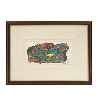 Joan Miró. De la Serie Miró Escultor No. 7, 1974-1975. Firmada en plancha. Litografía sin número de tiraje. Con certificado. 20 x 40 cm