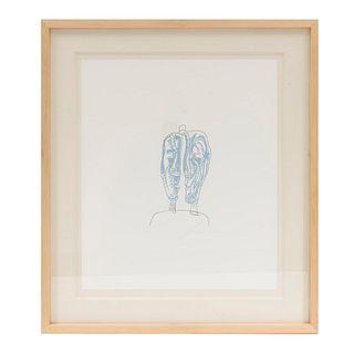 José Luis Cuevas. Diálogo. Firmado. Grabado en acero 26/100. Enmarcado. 60 x 50 cm