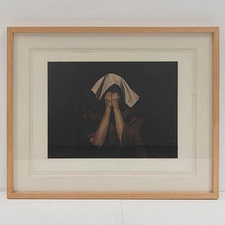 Santiago Carbonell. María manto blanco. Firmada. Litografía y barniz serigráfico 142/250. Enmarcada. 50 x 60 cm
