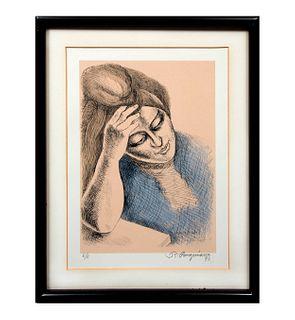 Raúl Anguiano. Pensativa. Firmada y fechada 90. Serigrafía E/E. Enmarcada. 32 x 22 cm
