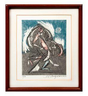 Raúl Anguiano Sin título. Firmado y fechado 90 Serigrafía E/E. Enmarcada. 25x21 cm