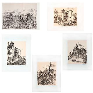 Edmundo Almanza Roa. Cervantes en Guanajuato. Firmadas Carpeta con una panorámica y 10 láminas 38 x 30 cm