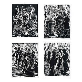 MARYSOLE WÖRNER BAZ, Sin título, Firmados, Grabados en linóleo 6 / 15, 22.5 x 18 cm cada uno, Piezas: 4