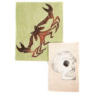 Lote de 2 cuadernos artesanales. México. Siglo XX. Diseño por Francisco Toledo para Arte Papel Vista Hermosa. Con etiqueta.