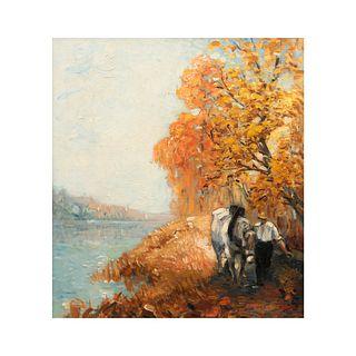 Anónimo. Paisaje con caballo y campesino. Óleo sobre masonite. Enmarcado. 49 x 44 cm.