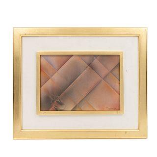 Leonardo Nierman. Ensayo para la serie de papeles arrugados. Firmado. Gouache sobre papel. Enmarcado. 34 x 23.5 cm