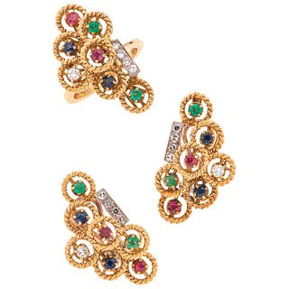 Set of ring and pair of earrings with sapphires, rubies, emeralds, & diamonds in 18k yellow gold, 10k, & palladium silver. Weight: 21.5 g