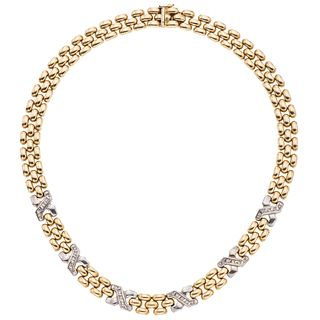 Choker with diamonds in yellow and white 14k gold, 30 diamonds. Weight: 45.9 g. Length: 16""