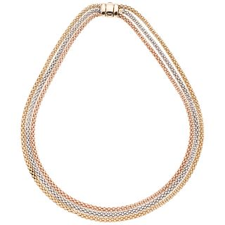Choker in yellow, white, and pink 14k gold. Weight: 39.7 g. Length: 16.5""