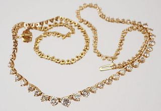14K Yellow Gold & DIAMOND Tennis Necklace