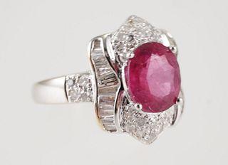 18K White Gold Oval RUBELLITE & DIAMOND Ring