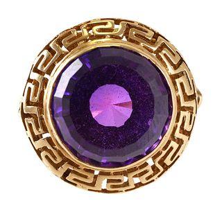 18k Gold Amethyst Ring, Greek Key