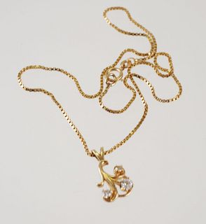 14K Yellow Gold & DIAMOND Pendant Necklace