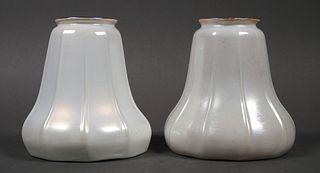 (2) Iridescent Gold Glass Lamp Shades