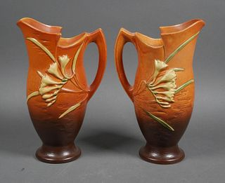 (2) ROSEVILLE Freesia Pottery Pitcher Ewer 20-10