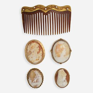 Four shell cameo brooches and a seed pearl and gold hair comb