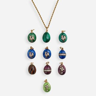 Guilloche enamel egg pendant charms with gold chain