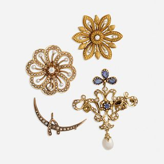 Group of Antique jewelry and synthetic sapphire and seed pearl brooch