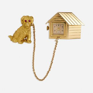 Gold dog and dog house watch brooch