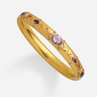 Antique American amethyst and gold bangle bracelet