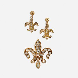 Set of diamond fleur-de-lys jewelry