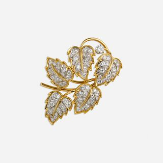 Diamond leaf brooch