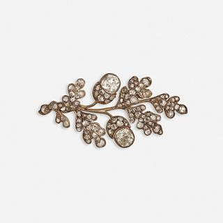 Antique diamond and silver-topped gold acorn brooch